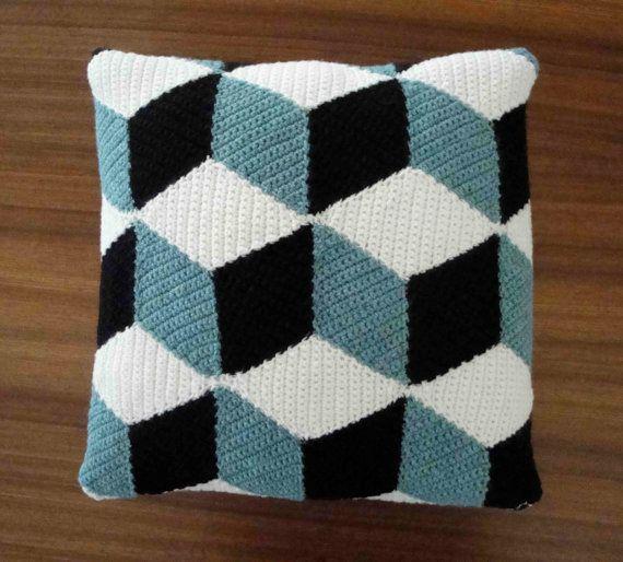 #Crochet #harlequin Black White & Aqua Blue Isometric Pillow / Cushion on Etsy by Paravent