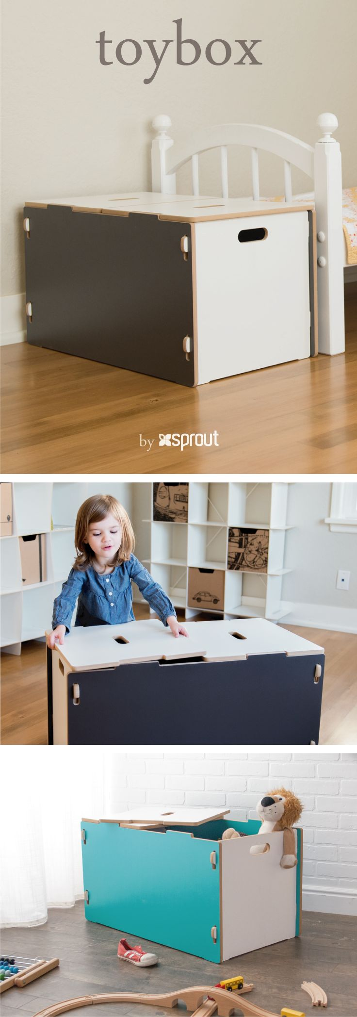 Keep toys out from underfoot with a fun modern kids toy box. Dolls, animals, books, trucks, boats, and more can all live happily together in Sprout's roomy kids toy chest.  It has pinch-free lids and rounded corners and edges to keep little fingers safe and happy.   Learn more about the wooden toy box at Sprout.
