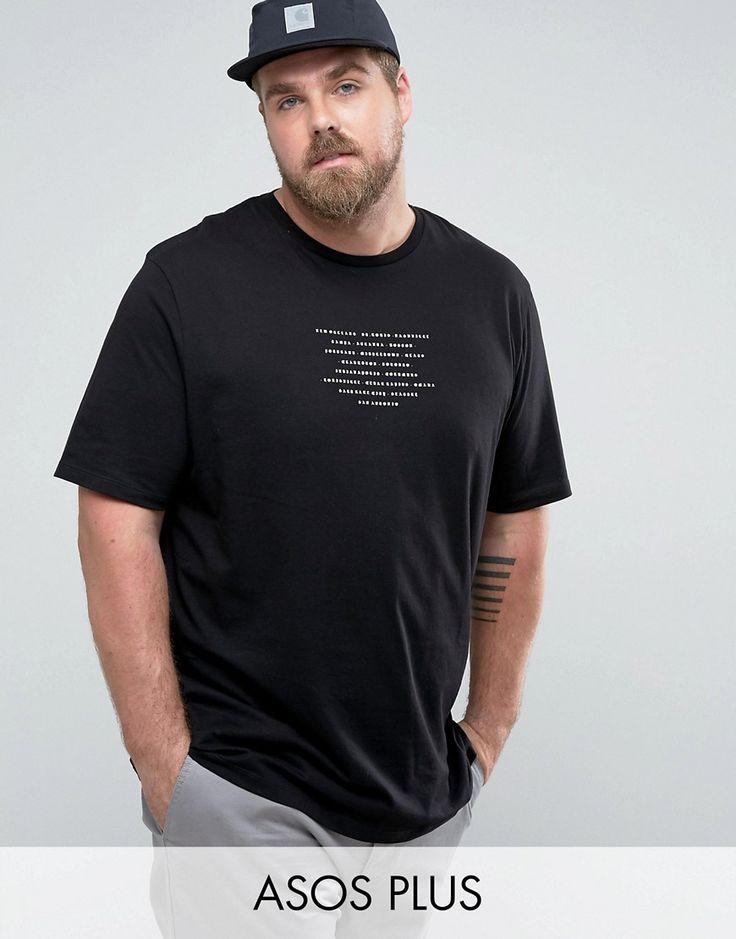 ASOS PLUS Longline T-Shirt With Text Print - Black