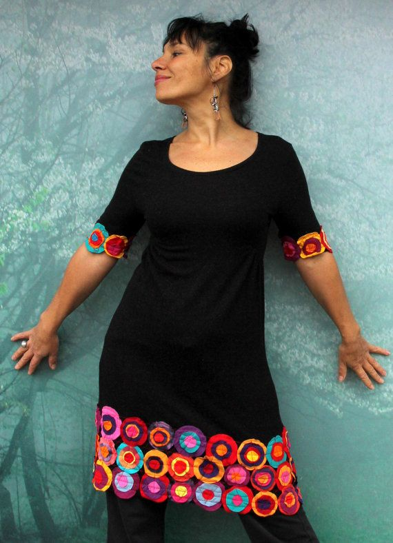 Colorful crazy appliqued recycled dress tunic. Made from recycled clothing. Remade, upcycled. Full of positive energy. Hippie art gypsy boho style. One of a kind. Size: M (european 38) Streching Bust line max 37 inches (96 cm) waist max 35 inches (90 cm) Hips line max 42 inches (106cm) Length about: 40 inches (101 cm)