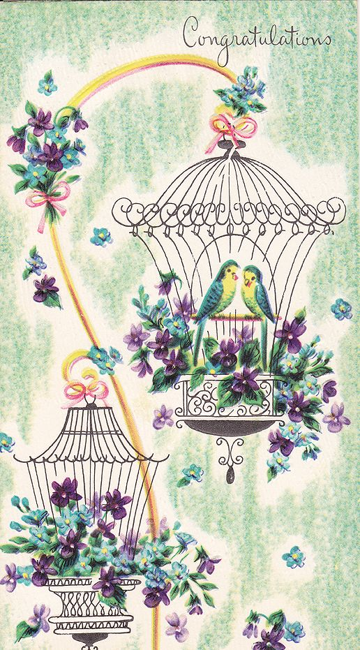 Vintage Greeting Card.  Love the placement of two bird cages. and the coloring back drop like a color pencil sketched in...