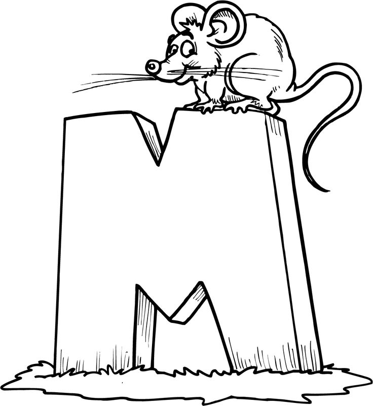 m for mouse coloring sheet - Letter M Coloring Pages