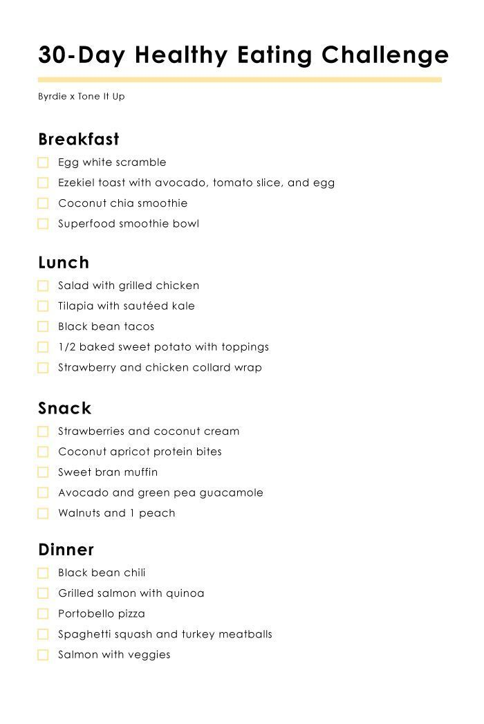 Health challenge ideas clean eating