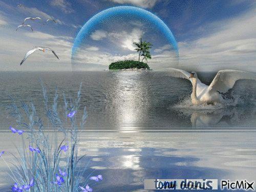 TROPICAL BLUE original backgrounds, painting,digital art by tonydanis GREECE HELLAS fantasy fantasia 3d animation imagination gif peace love