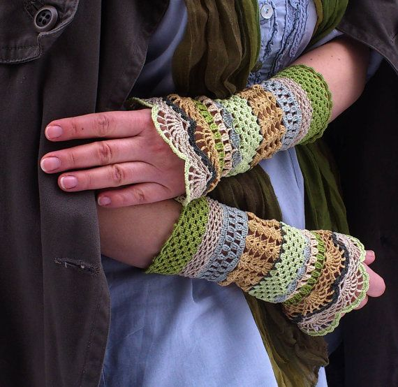 Total Colorization: Just Spring - crocheted open work lacy romantic wrist warmers cuffs hippie boho style via Etsy