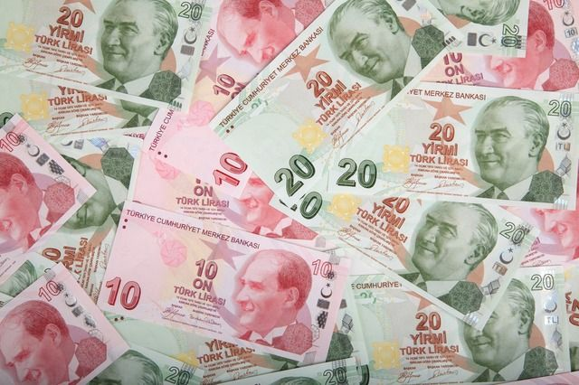 Turkish lira with the face of Mustafa Kemal Ataturk. He was the founder of the Turkish Republic.