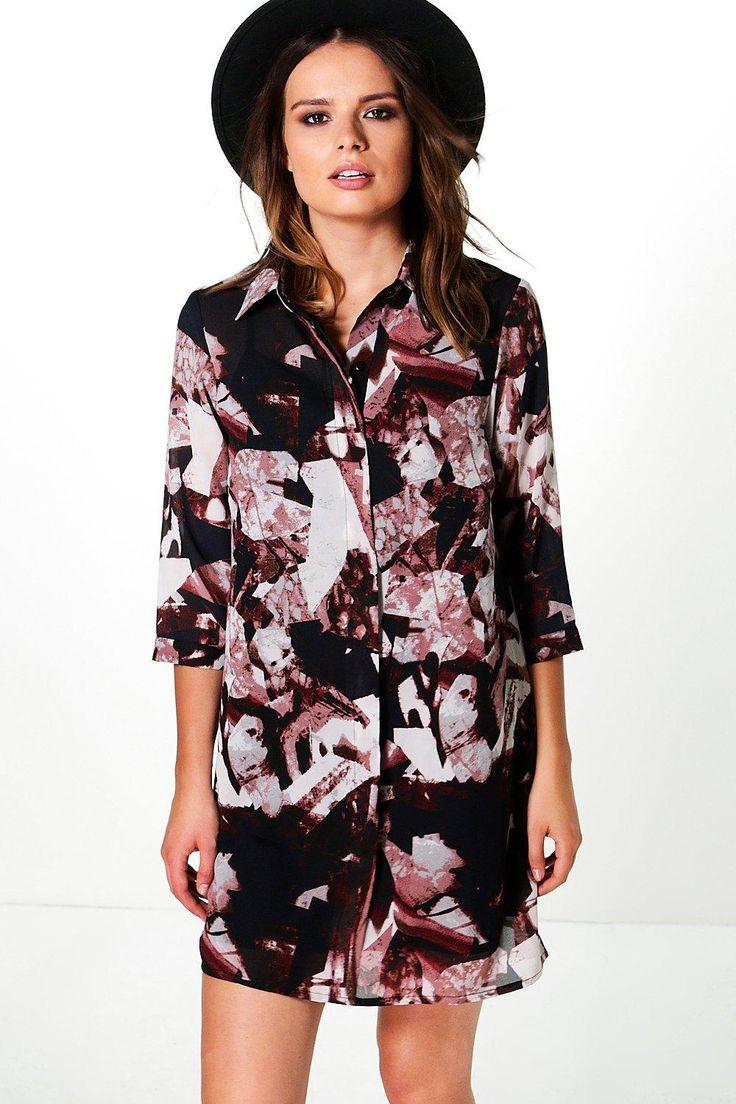 Charlie Mixed Print Shirt Dress at boohoo.com