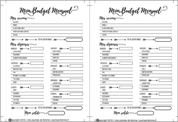 Imprimé pour planner : Mon budget mensuel | | Une journée de femme