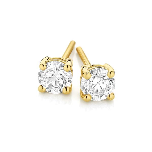 18ct Yellow Gold Diamond Earrings.