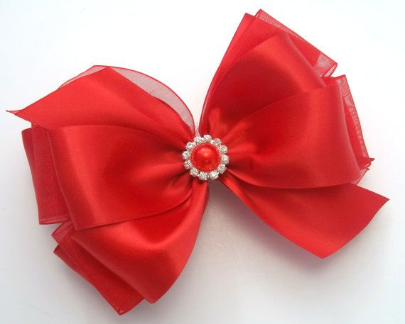 Christmas Red Satin Hair Bow Boutique Red by JustinesBoutiqueBows