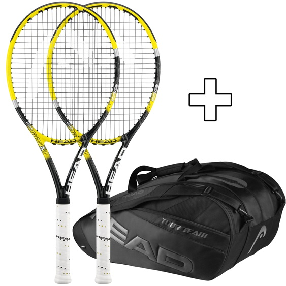 26-11-12: 2 #Racchette da #Tennis #HEAD Youtek IG Extreme MP (senza corde) + #Borsa Head Black Line Monstercombi Limited Edition 199€