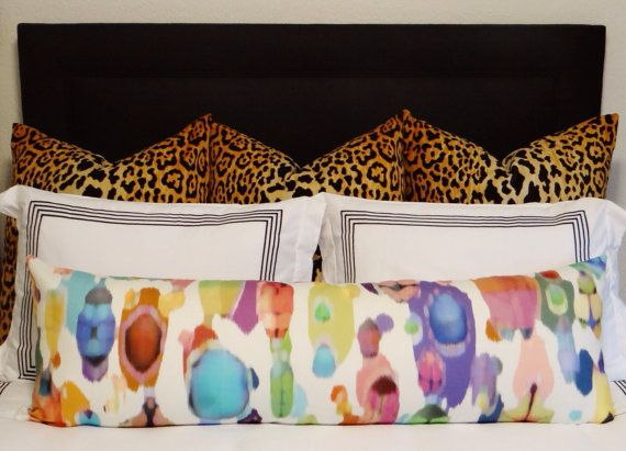 14 X 48 LUMBAR // Watercolor Abstract  by ShopLittleDesignCo