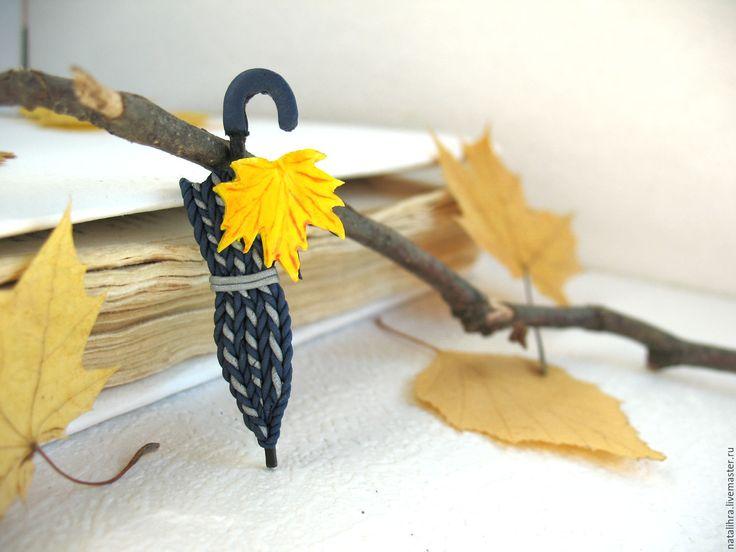 Купить Осенний дуэт Брошь зонт Полимерная глина Лист Клен Желтая Синяя Рыжая