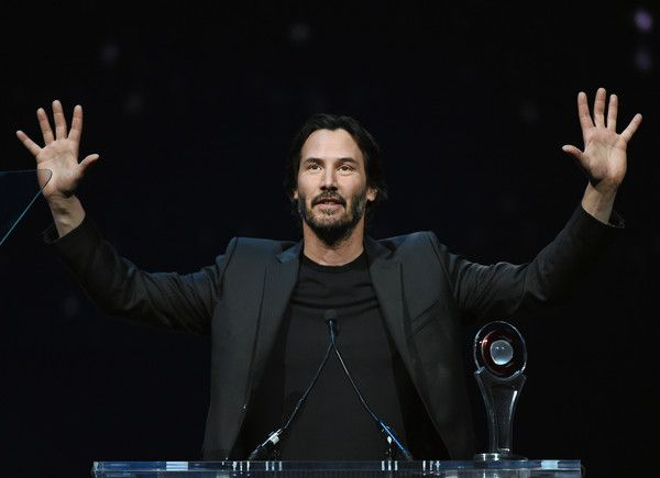 Actor Keanu Reeves accepts the Vanguard Award during the CinemaCon Big Screen Achievement Awards brought to you by the Coca-Cola Company at The Colosseum at Caesars Palace during CinemaCon, the official convention of the National Association of Theatre Owners, on April 14, 2016 in Las Vegas, Nevada.