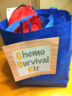 A funny book that has nothing to do with Chemo.  A pretty scarf for when she looses her hair. Plastic utensils to help with the metallic taste patients often get. Hard candy to help with mouth sores. A small pillow (because hospital pillows suck) Ginger tea to help with nausea. Lip Balm for chapped lips A magazine to help pass the time. Love Notes: This is one of my favorite parts. I asked friends and neighbors to write notes of encouragement and tied them together with a pretty ribbon.