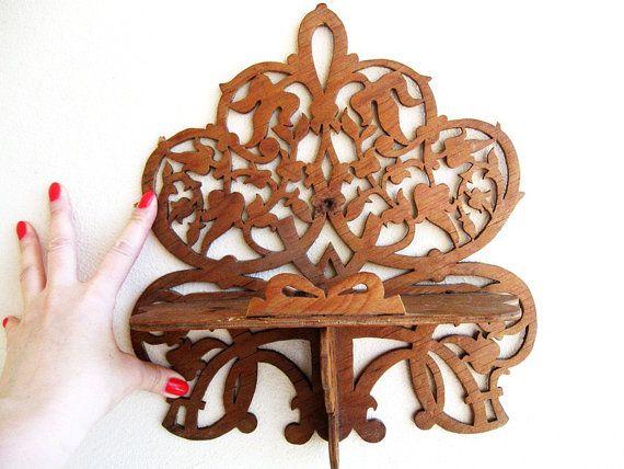 Wood Carved Wall Shelf Vintage Decorative Shelf USSR by oldflat