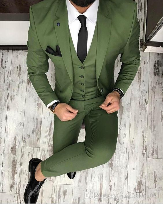 2017 Latest Coat Pant Designs Green Men Suit Slim Fit Skinny Tuxedo