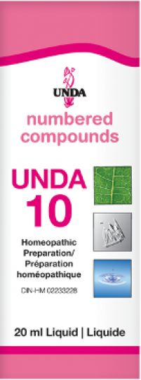 Unda 10 For relief of symptoms associated with irregular menstrual cycles. Female Reproductive System