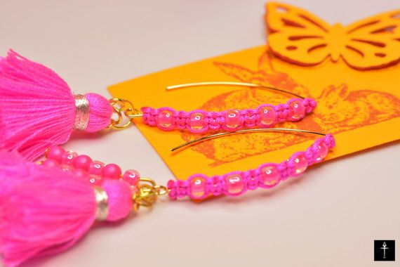 Statement Earrings with tassels Neon Pink Fuscia Shiny by BYTWINS