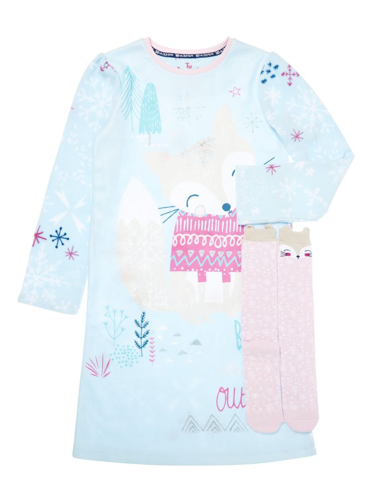 Boost their winter nightwear wardrobe with this adorable nightie and sock set. Adorned in charming pattern, the long sleeve nightie is cut to a longer length. The cotton rich socks are designed with stretch and non-slip soles. Perfect for the colder months, layer under a dressing gown for a snuggled feel. Blue arctic fox nightie and sock set Fleece Pattern Non-slip tread Longer length Keep away from fire