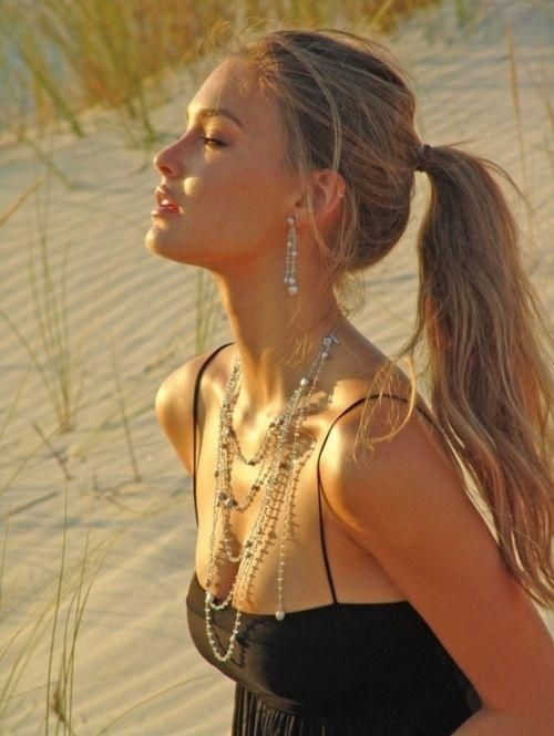 Layered necklaces and pretty girl.