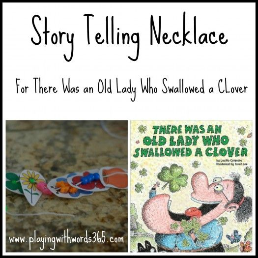 FREE Story Telling Necklace to go along with The old Lady who Swallowed a Clover! - Pinned by @PediaStaff – Please Visit  ht.ly/63sNt for all our pediatric therapy pins