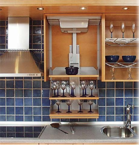 Pull Down Upper Cabinet Kitchen Cabinet Shelves, Kitchen