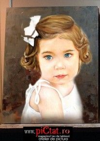 Tablouri pictate: Pictura dupa fotografie exemple Pictura Portret cu fetita satena