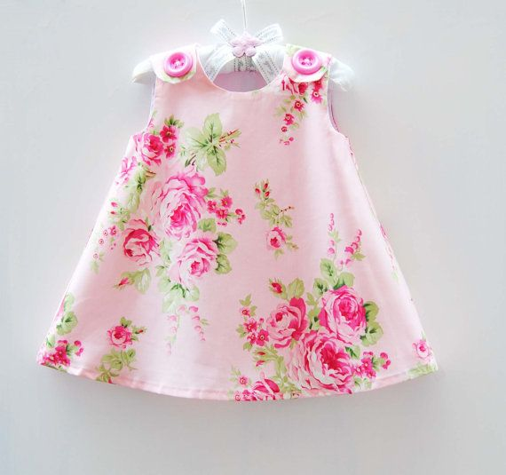 Barefoot Roses - Girls - Jumper Dress - Aline Dress - Toddler Clothing - Special Occassions - Summer Dress Pattern - 3m to 4T on Etsy, $33.00