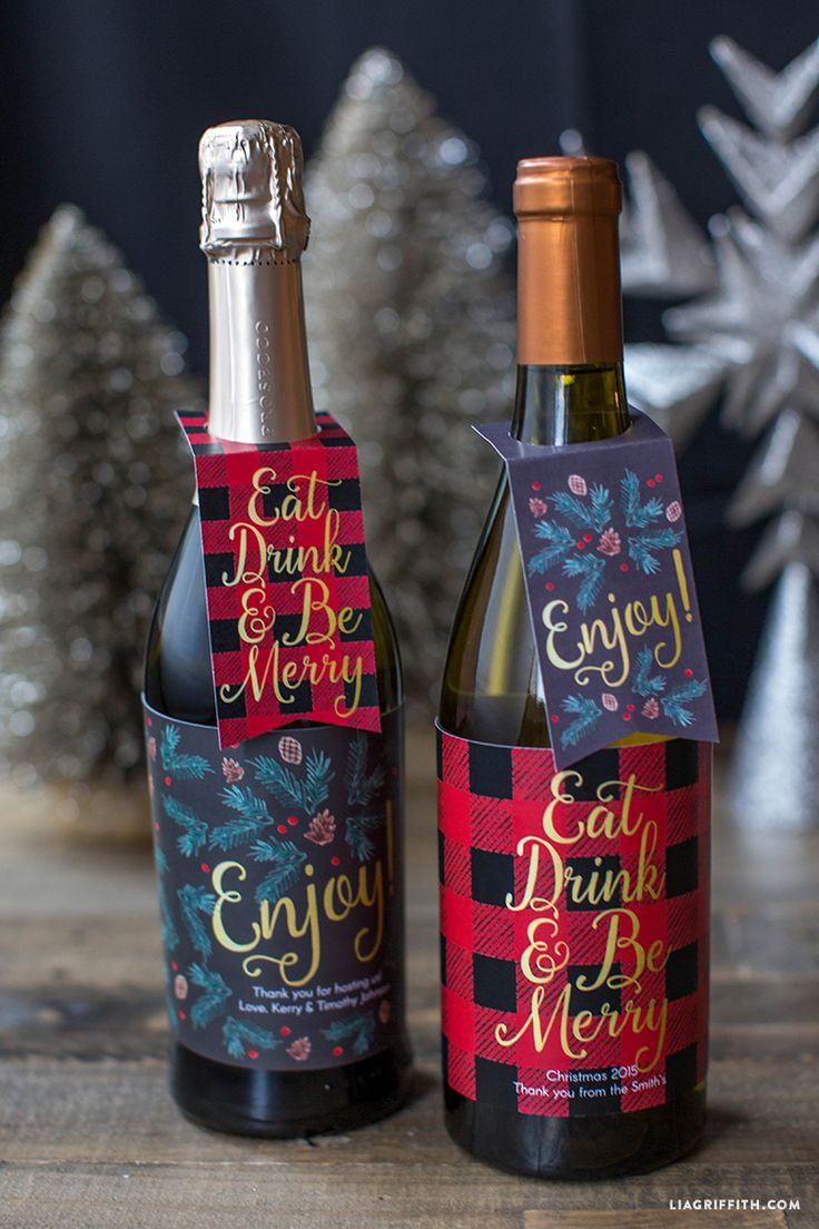 Free printable Christmas wine bottle labels and gift tags. You can type in and edit who the gift is from. So fabulous! Lia Griffith.