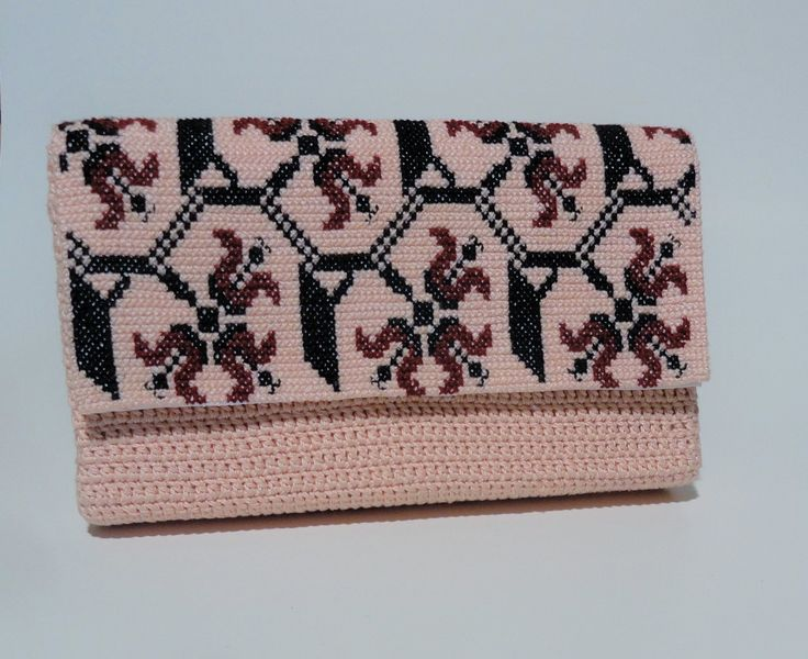 Crocheted hand bag with romanian traditional motifs by CatanaHandmade on Etsy