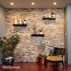 Put up this faux Stone wall and decorate