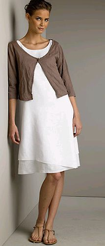 "eileen fisher..........linen dress & short cardi.......she designs with ""me"" in mind.....layer...layer....&..she creates in COLOUR.....how lovely.......all in the details..........."
