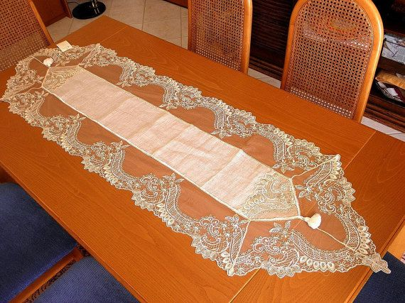 Lace table runner opulent linen with by ClassyInteriorsDeco