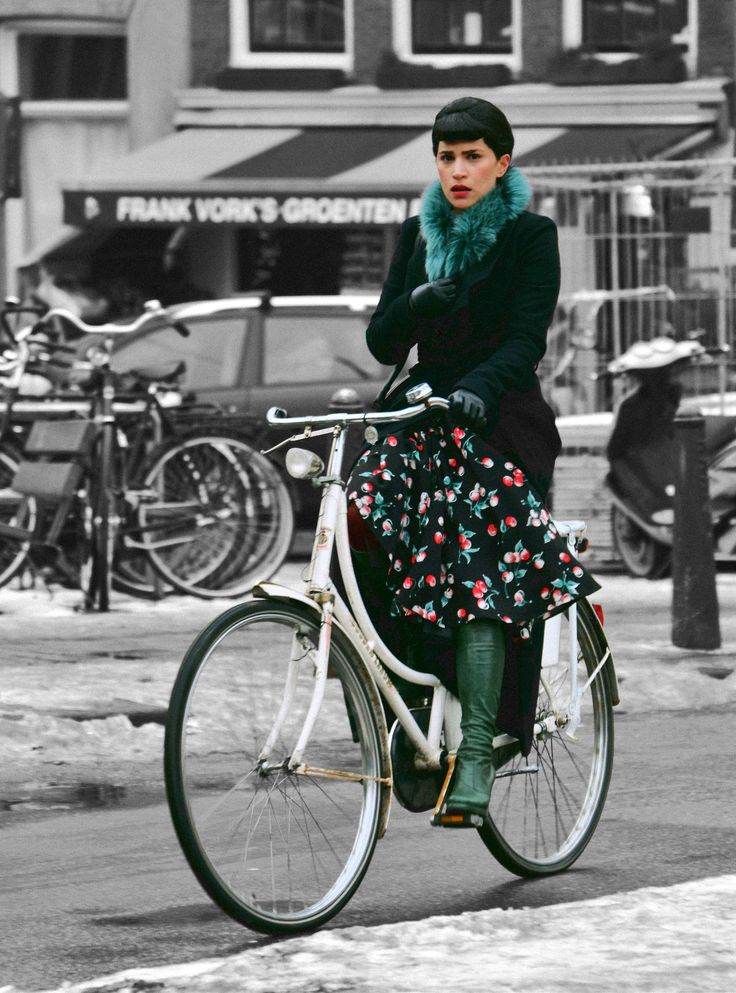 """Winter flower"" - A #Dutch #cyclist in the city of #Amsterdam (via Amsterdamize)"