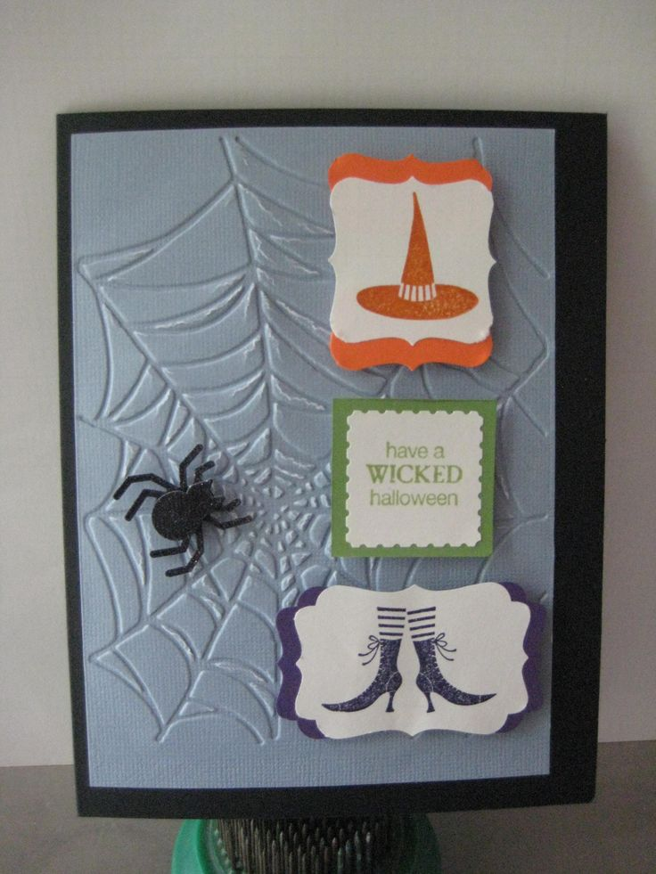 Stampin up stamps, punches and embossed web for Halloween card