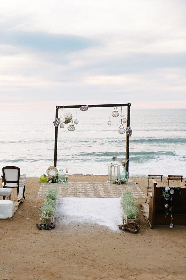 beach wedding altar - photo by John Schnack Photography http://ruffledblog.com/seaside-wedding-inspiration-shoot
