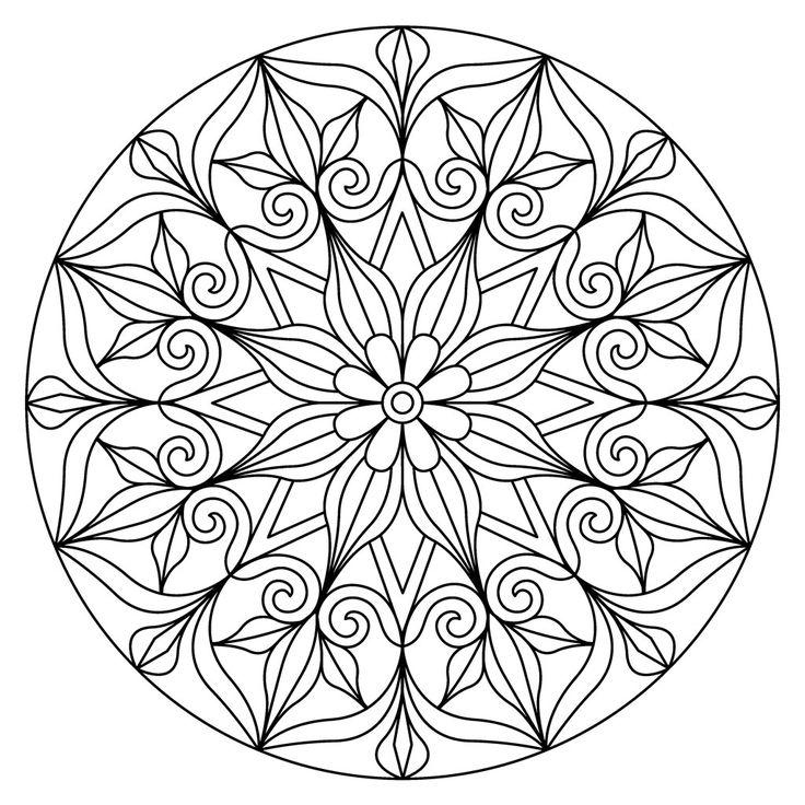 Tampon support bois Mandalas 7.5 x 7.5 cm petit modèle centre fleur x1
