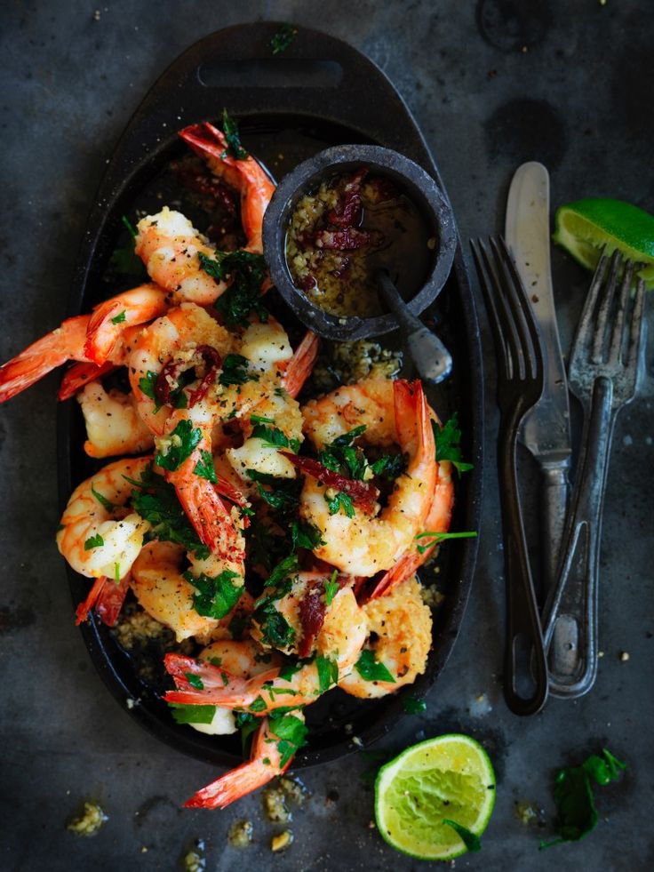 Neil Perry's Good Weekend recipe: Pan-fried prawns with garlic & chipotle oil.