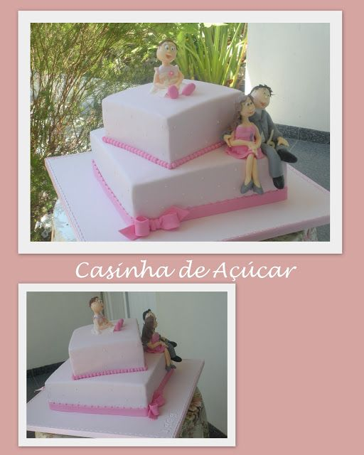 Casinha de açúcar: Bolo de batizado e aniversário de casamento