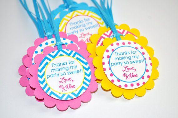 12 Chevron Polkadot Favor Tags - Girls 1st Birthday - Chevron Birthday Decorations with Polkadots - Teal, Pink, Yellow on Etsy, $10.00