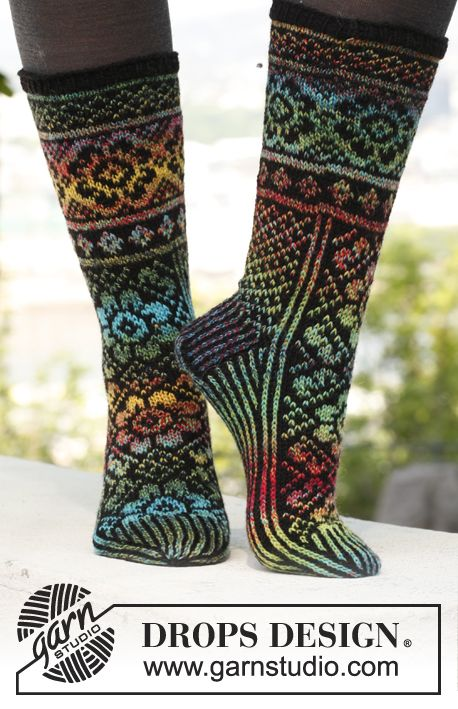 """February is #Sockalicious! Knitted DROPS socks with pattern in """"Fabel"""". ~ DROPS Design"""