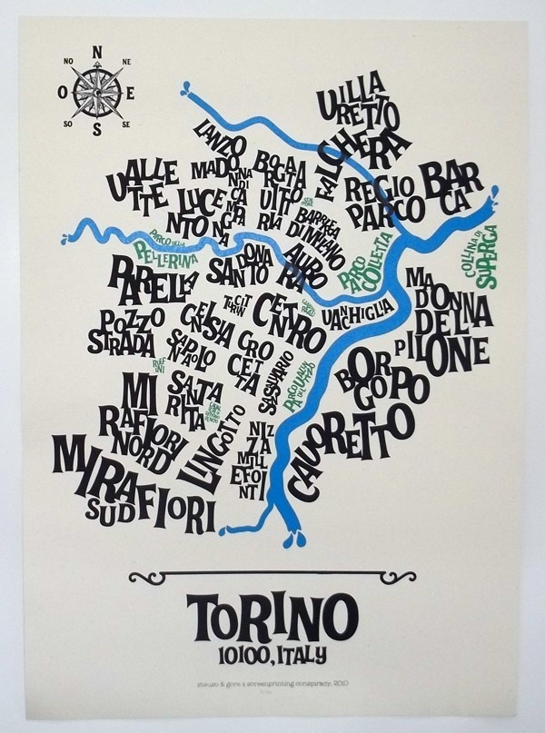 Turin Typographic Map  Artwork by Gore and Steuso.  Dimension: 50x70 cm  Technique: 3 colors hand pulled screenprint. Fedrigoni paper.  Copies: Limited Edition 100 copies numbered.