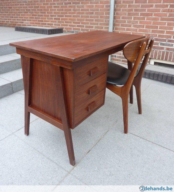 Retro bureau met stoel, teak, jaren 60