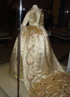 "Marie Antoinette's two- piece court dress, attributed to dressmaker Marie Jeanne ""Rose"" Bertin, France, 1780s."