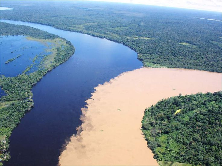 Junction of two rivers in Guainia, Colombia -Inírida River and Guaviare River.
