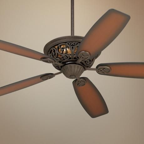 "56"" Casa Brisbane Black Rust with Teak Blades Ceiling Fan - #57538-58487 | LampsPlus.com"
