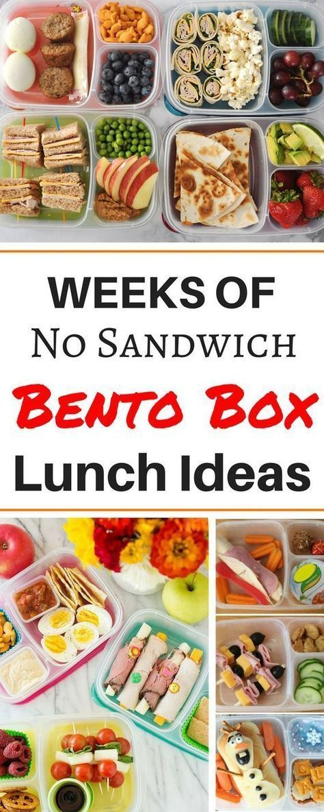 Months worth of healthy make ahead school lunch ideas for kids, for teens, and for adults! These easy no sandwich bento box recipes are perfect for picky eaters. There are so many ideas for cold lunches even including vegetarian and gluten free ideas for preschoolers and even for teenagers! #easylunchboxes #lunchboxideas #glutenfreerecipesforkids