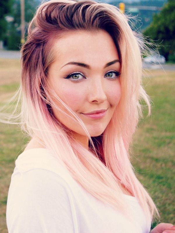 muted pastel pink coral rose gold dyed hair
