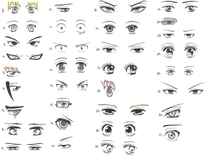 33 Manga And Anime Character Eye References By Xin Yii